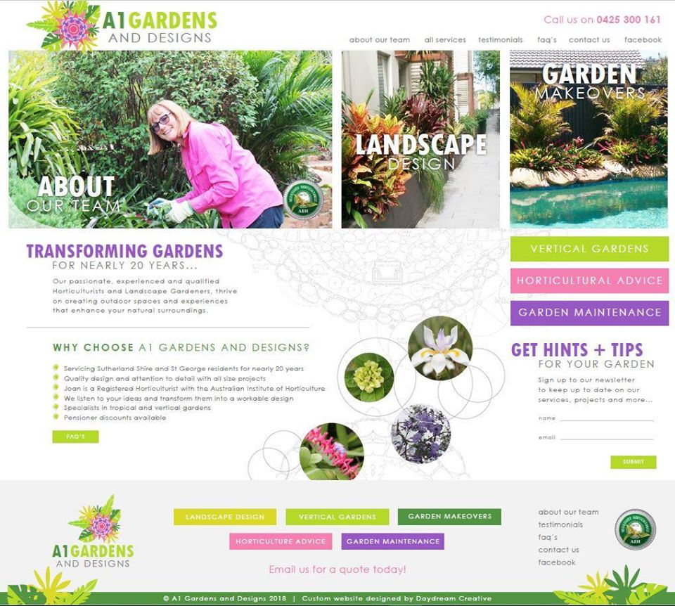 New website for A1 Gardens and Designs