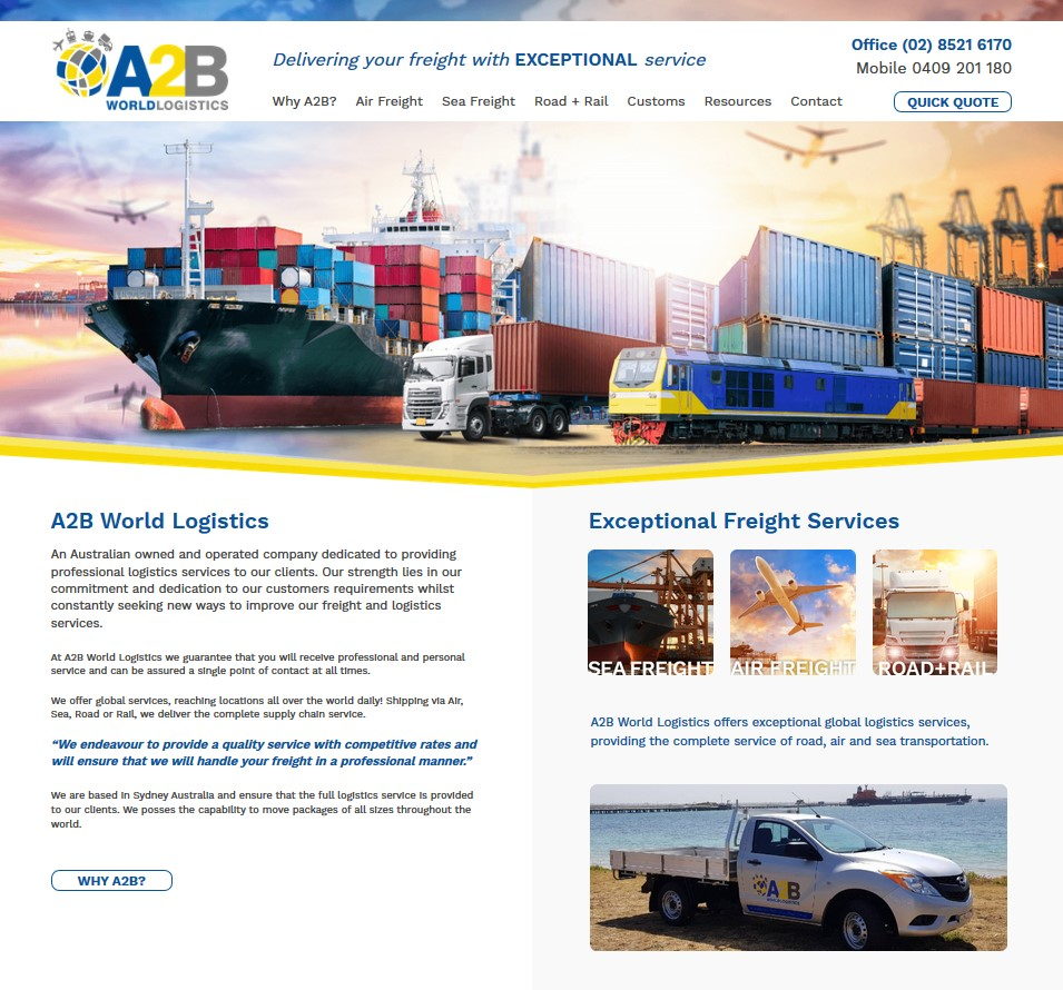 A2B World Logistics website