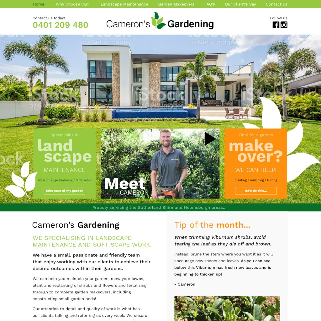 Cameron's gardening custom website