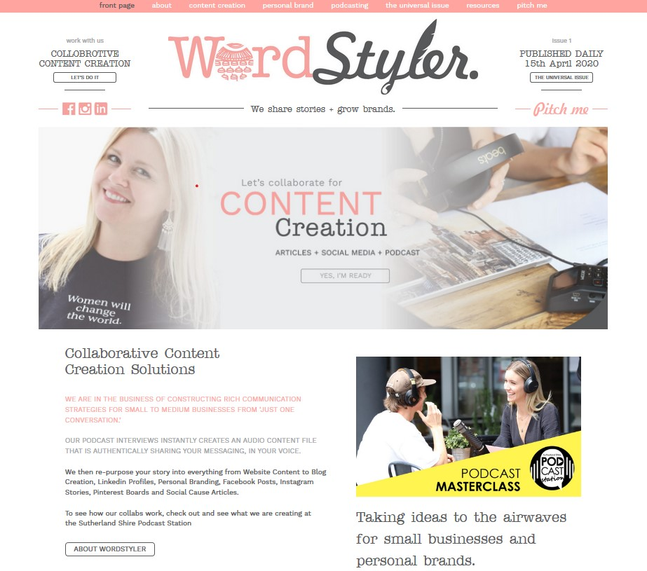 WordStyler custom website and blog