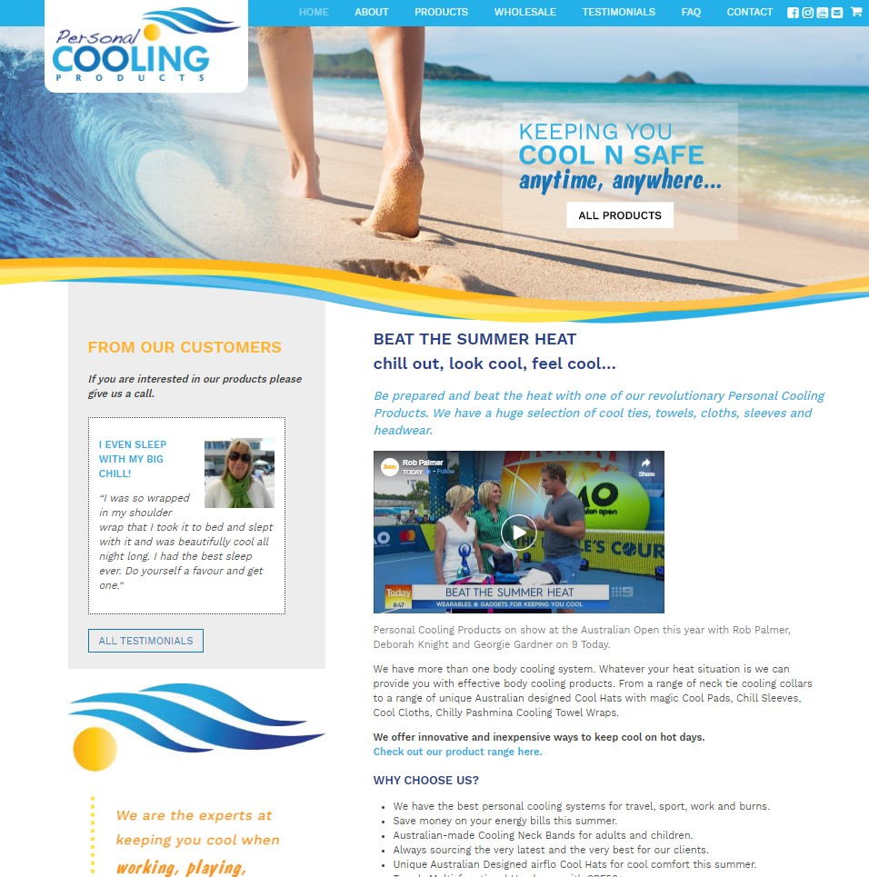 Personal Cooling Products custom website and shop