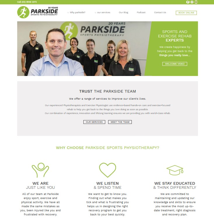 Parkside Sports Physio Website